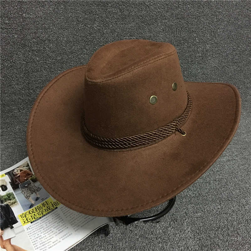 5541f9310 Detail Feedback Questions about New 2018 Sun Hat Faux Leather Cowboy ...