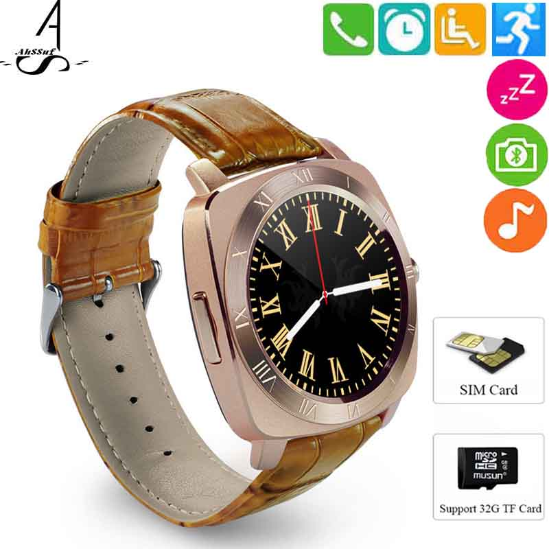 AhSSuf watch touch round SIM Card camera montre pedometer inteligente smart electronics Music sedentary reminder for smartphone