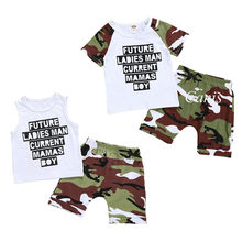 Toddler Boy Clothes Mother's Day Infant Kid Baby Boy Tops Vest Shorts Camos Pants Outfit Clothes Set Boys Clothes Cotton O-neck(China)