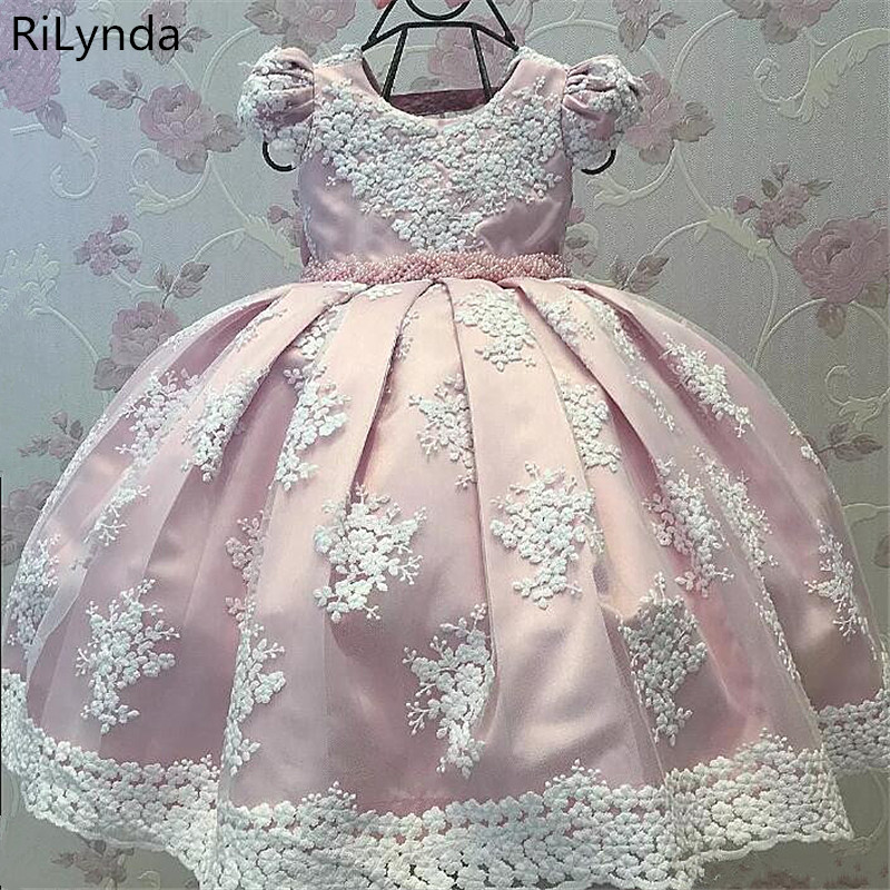 Pink   Girls     Flower     Dresses   For Party vestido daminha Pearls Sash Bow Cap Sleeves   Flower     Girl     Dress   Lace First Communion   Dress