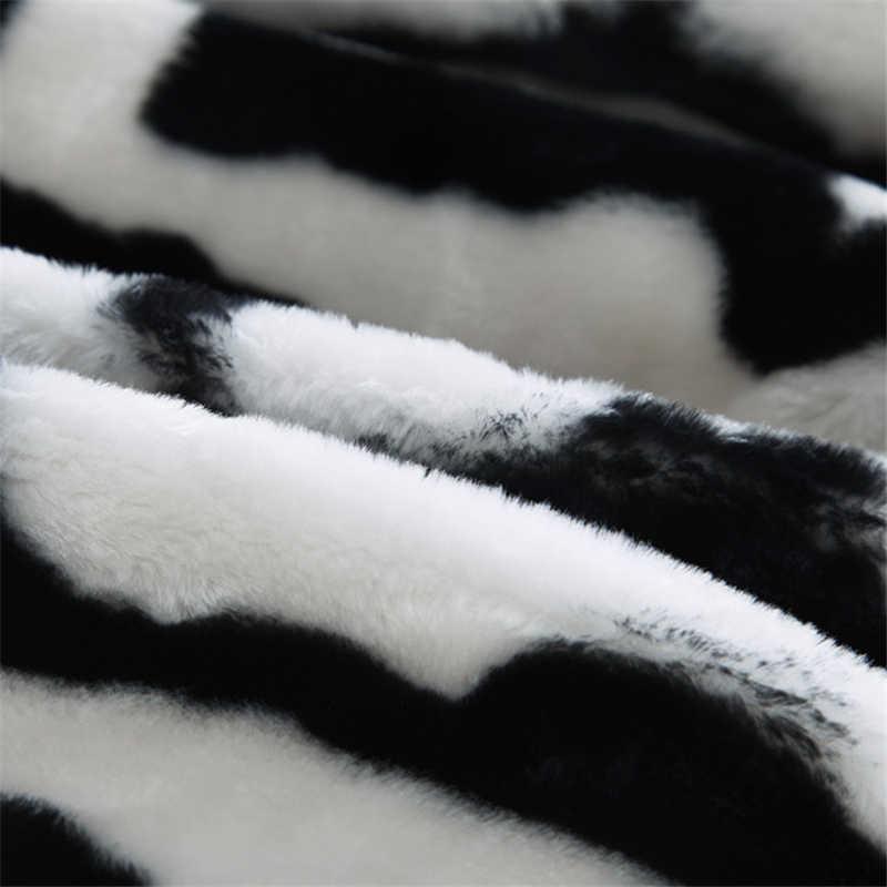Cao cấp Dày Chất Lượng Raschel Chồn Chăn Ngựa Vằn Da Họa Tiết In Hình Sofa Đôi Nữ Hoàng Kích Thước Siêu Mềm Ấm Giường Chăn