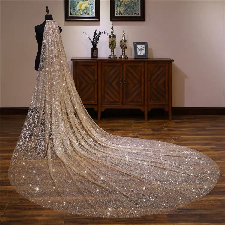 Gold White Blingbling Glitters Bridal Veils Luxury Wedding Veil Bride 3x3.5 Meters Long Cathedral Veil With Comb Peigne Mariage - 4