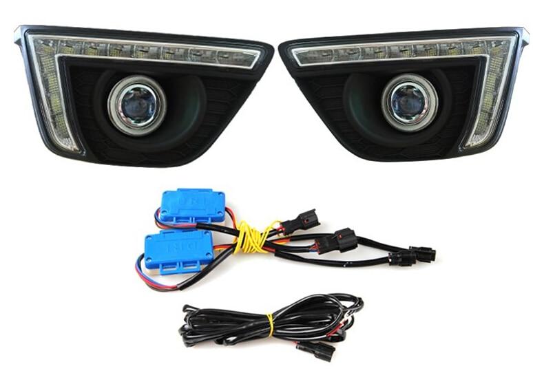 Cob Ангел глаз (6 цветов опционально)+ светодиодные дневные ходовые свет + Галогенные Противотуманные фары объектив проектора для Honda приспосабливать 2014-15