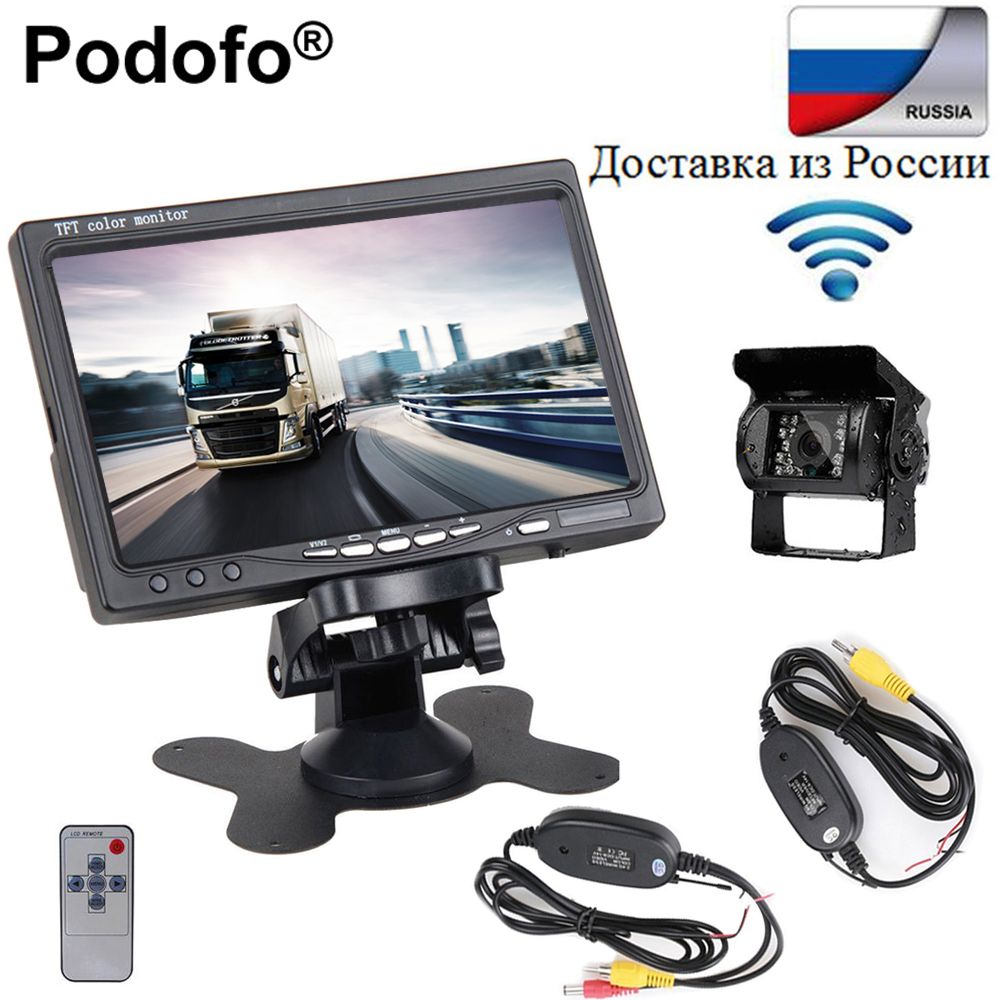 "Podofo 7"" TFT LCD Monitor Wireless Truck Vehicle Car Rear View Camera Night Vision Waterproof High Solution Reversing Camera Kit"