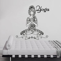 Hot Sale Yoga Meditate Pose Girls Wall Sticker Bedroom Removable Art Home Decor Vinyl Decal