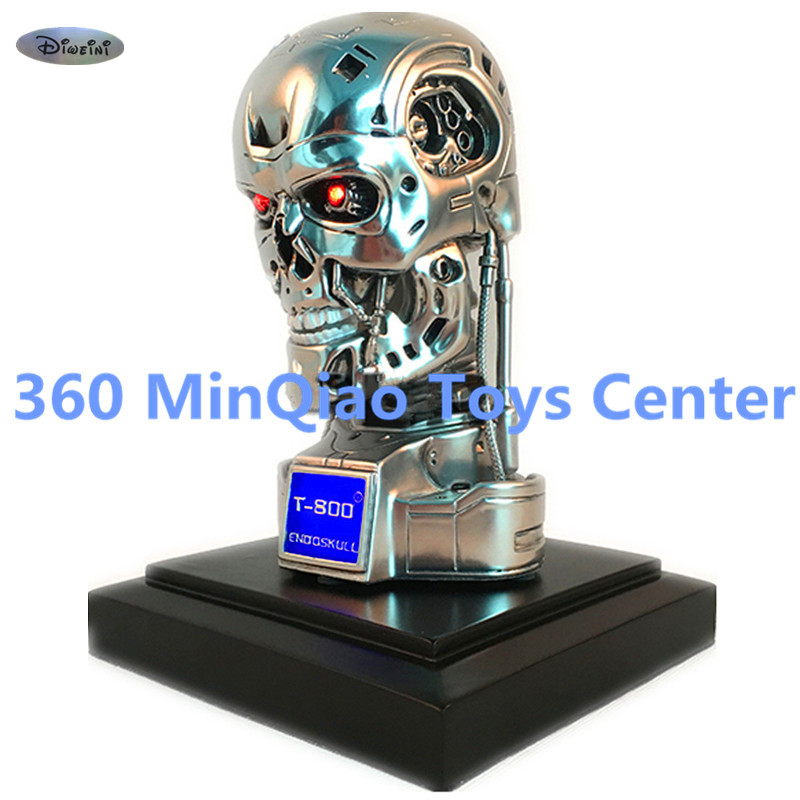 Statue Terminator 1:2 T2 Bust Schwarzenegger Skull T800 Head Portrait Silver Resin Collectible Model Toy RETAIL BOX WU869 high quality 1 1 scale terminator t800 t2 skull endoskeleton lift size bust figure resin replica led eye