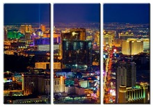 3 pieces/sets Modern Bustling city night viewdecoration wall art pictures landscape view Canvas Painting for living room