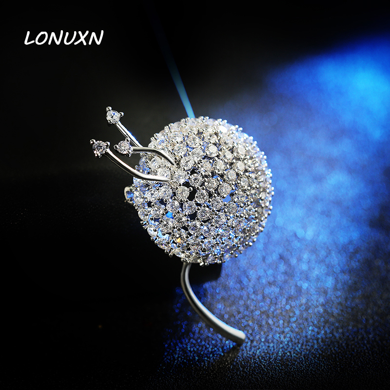 4.15*3cm High quality female jewelry girls white crystal jewelry brooch pins Dandelion shape plant lovers best gift