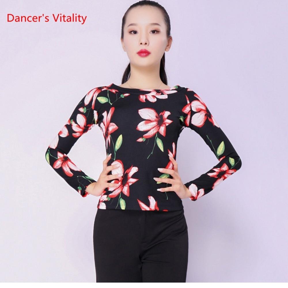 Ballroom Modern Latin Dance Long Sleeve Dance Tops For Women /Girl / Lady, Cha-Cha Rumba Competition Top