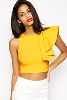 Fashion Summer Tops 2015 Black Yellow One Shoulder Ruffle Bustier Crop Top Casual Fitness Tank Top