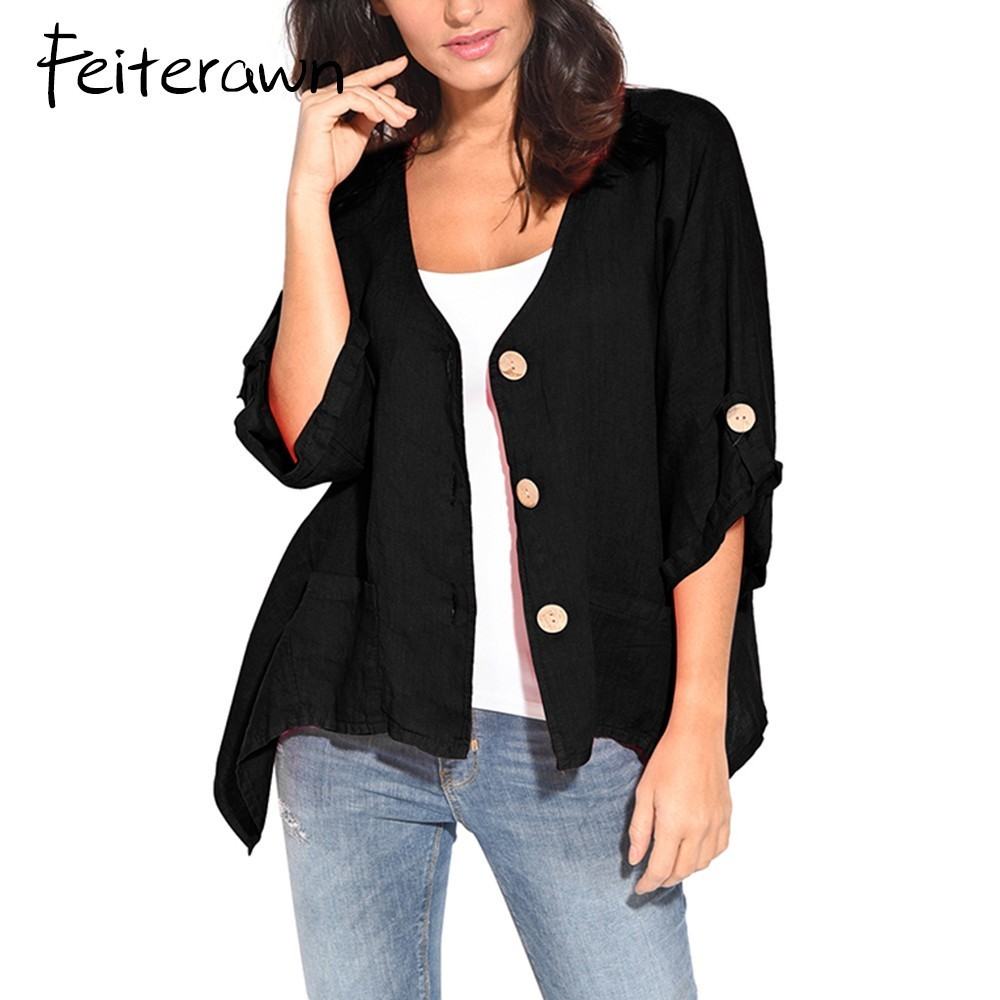 Feiterawn Roll Tab Sleeve Button Front Women Casual Shirt Cardigans Three Quarter Sleeve Irregular Hem Blouse Tops DL251307