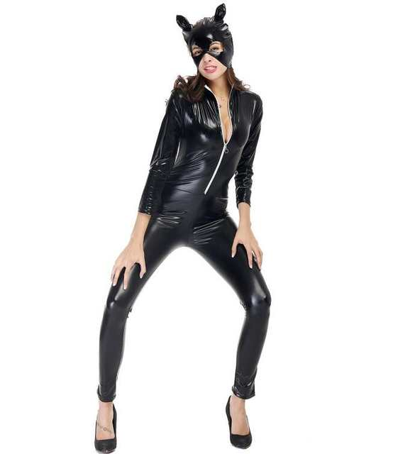 7d695155f7f5 placeholder Hot Party Cosplay Costume Club Girl Leather Cat Halloween  Costume Sexy Theme Locomotive Girl Jumpsuits Costume