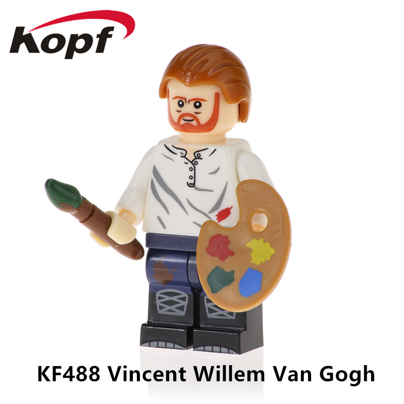 Super Heroes Bricks Single Sale Vincent Willem Van Gogh Pablo Picasso Asseble Building Blocks For Children Gift Toys KF488