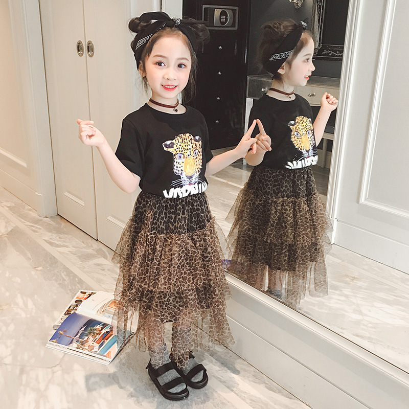 New Girl Tutu Skirts Children Fashion Summer Leopard Skirts for Teenage School Girls Children Long Pleated Skirt Toddler Clothes in Skirts from Mother Kids
