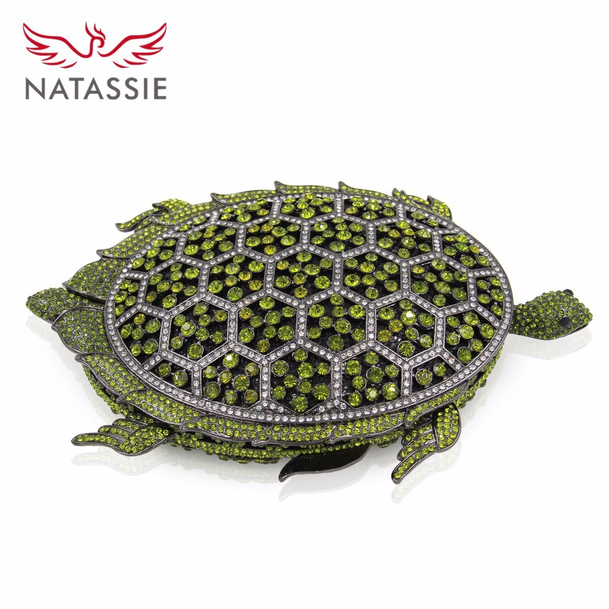 NATASSIE Women Animal Shape Crystal Bag Ladies Evening Clutches Bags Female Green Wedding Clutch Purses yuanyu 2018 new hot free shipping real python leather women clutch women hand caught bag women bag long snake women day clutches