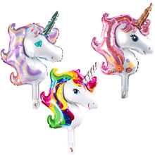 mini Pink gray white Unicorn balloon Party decorations kids Wedding Decoration globos shower party Supplies balloons(China)