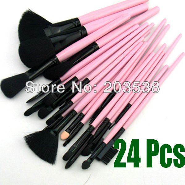 Makeup Brush Cosmetic Make Up Set 24 Pcs Makeup Brushes+Pink Leather Case