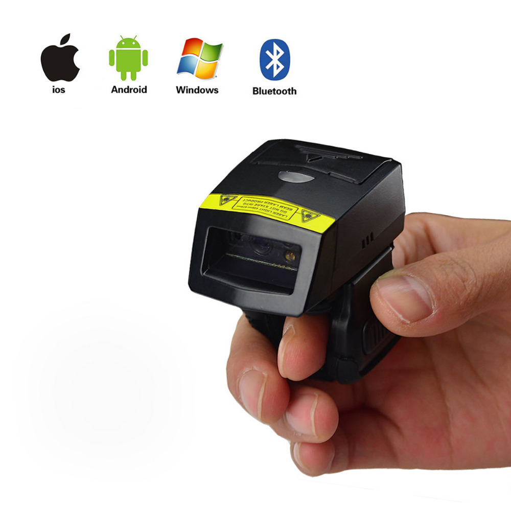 FS02 Wearable 2D Barcode Scanner MINI Bluetooth Bar code Reader for Andriod IOS