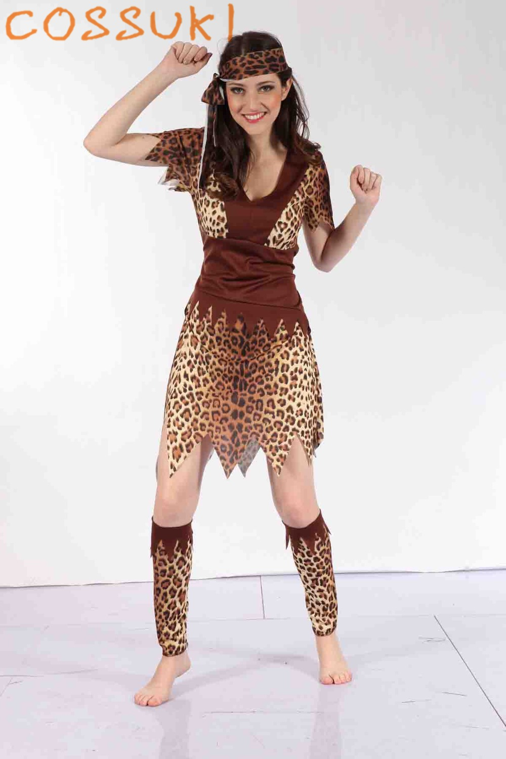 Halloween Adult Women Sexy Leopard Print Primitive Society Savage Cosplay Costume For Stage Performance Or Masquerade