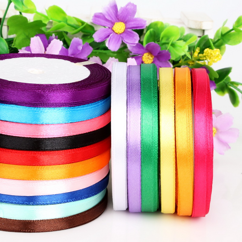 25 Yards 7mm Width Satin Ribbon For DIY Bow Craft Decor Wedding Festival Party Decoration Gift Wrapping Scrapbooking Supplies