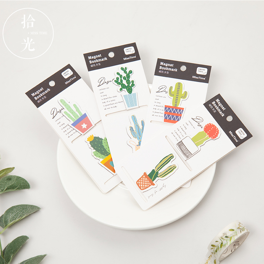 2 Pcs/pack Cactus Magnet Bookmark Cute Paper Clip Bookmarks For Books Page Holder School Office Supplies Escolar Stationery Gift