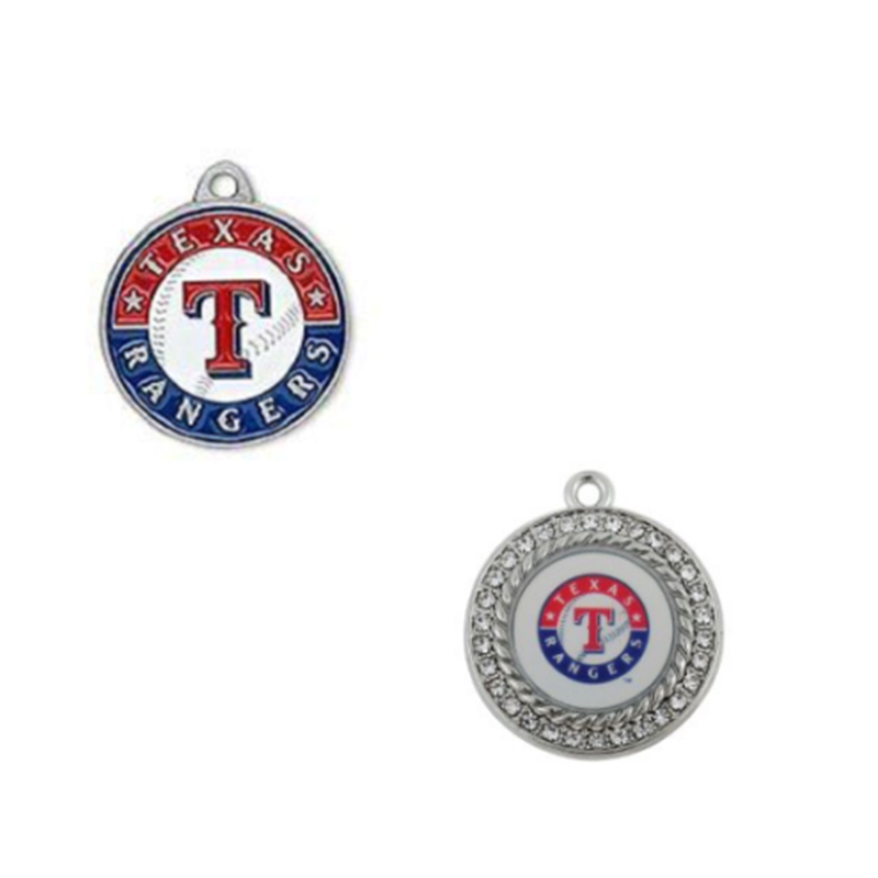 2 Style Enamel Baseball Baseball Team Texas Rangers Pendant Charms For DIY Women Fashion ...
