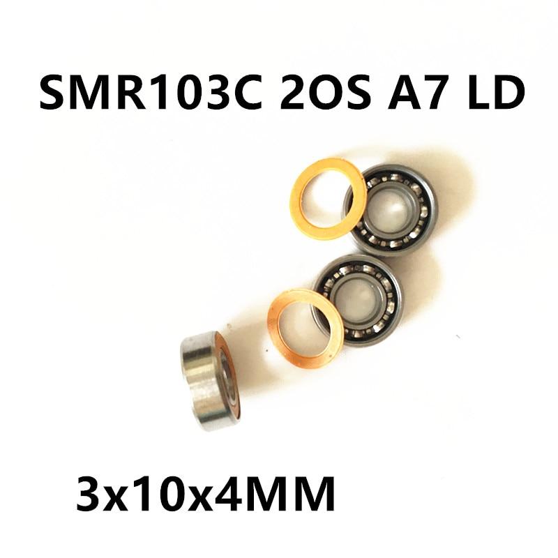 купить Free Shipping  3x10x4 Hybrid Ceramic Stainless Lube Dry Fishing Reel Bearing SMR103C 2OS A7 LD дешево