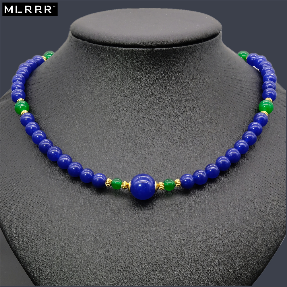 Vintage Classic Lab-created Natural Stone Jewelry Noble Simple Sapphires and Emeralds Beaded Chain Necklace 46cm