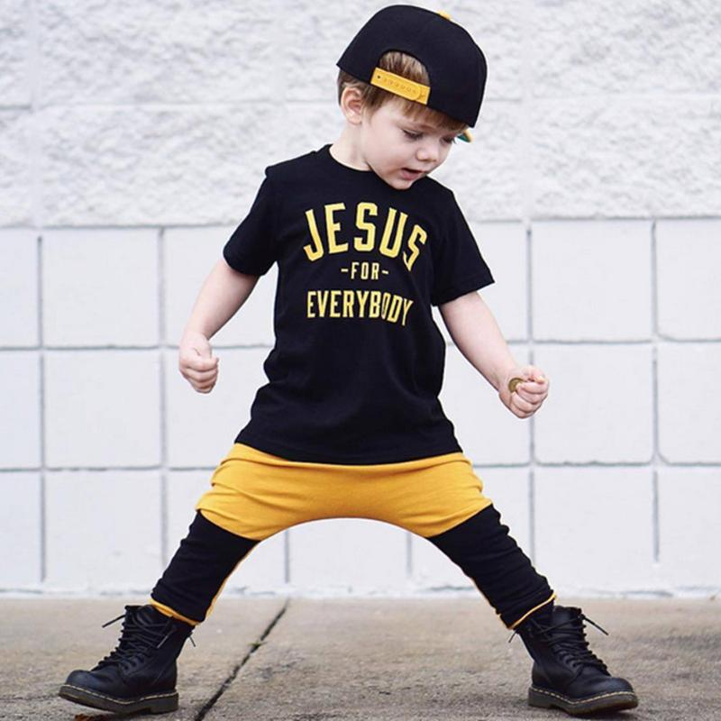 2pcs Kids Clothing Set Baby Boys O-Neck Letters Printed Sports T-Shirt Pants Outfits Children Casual Sports Suits
