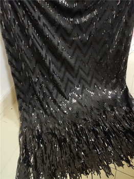 High class tulle mesh material sexy French net lace fabric with sequins and fringings LWN25(5yards/lot)