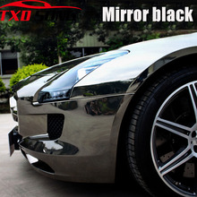 Filme de envoltório de vinil, espelho de cromo preto esticável, premium, 7 tamanhos, envoltório, folha decalque