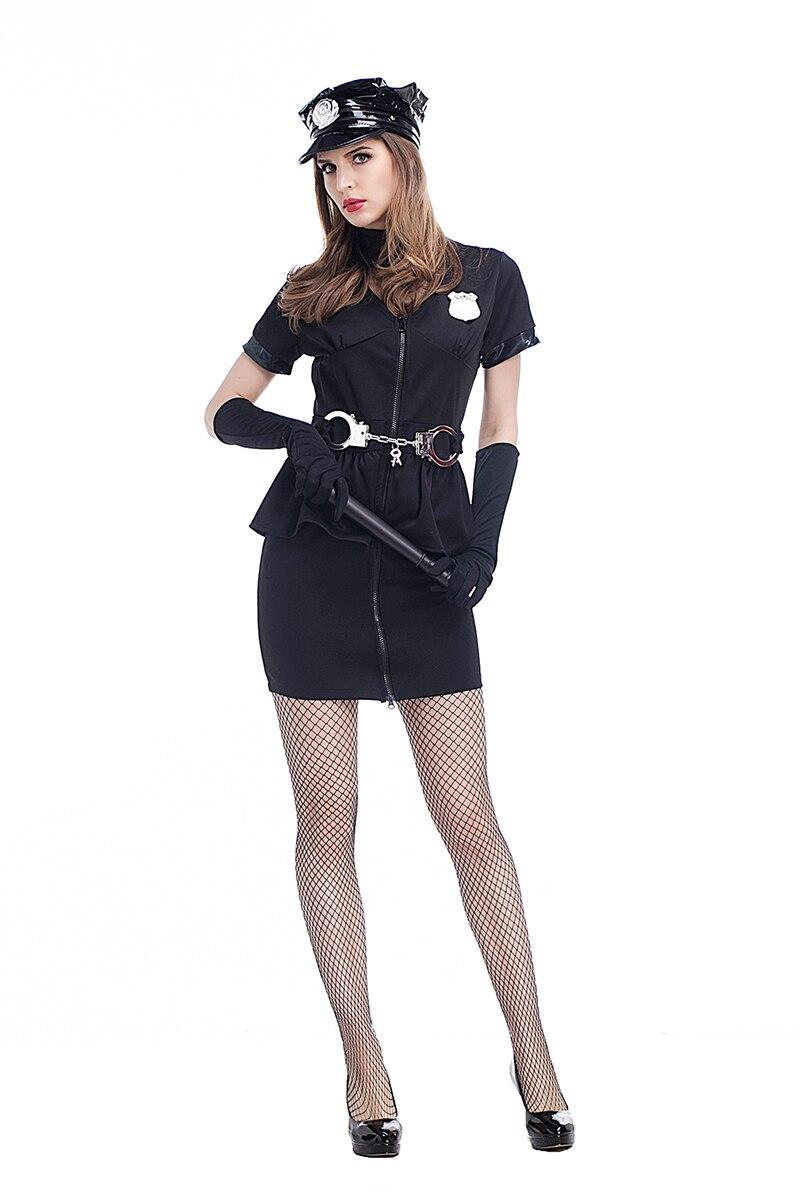 Adult Women Halloween Police Officer Cops Costume Short -9514