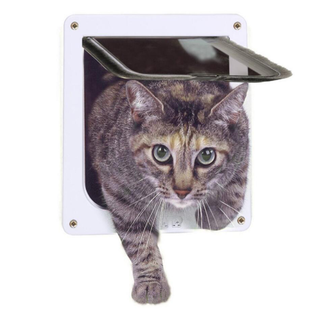 Pet Cat Crate Gates Doors Barn Door Safe Lockable Kitten Door Security Flap Doors ABS Plastic Small Animal Supplies Pet Products