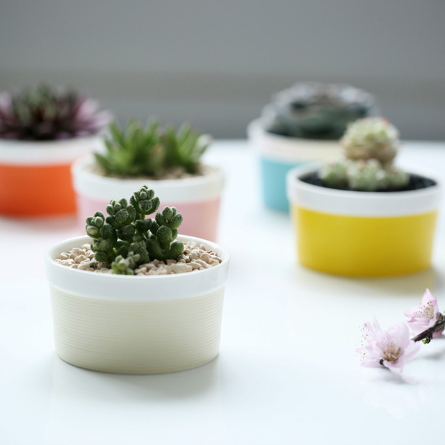 Perfect Garden Supplies Colorful Basic Small Garden Flower Pots Planters Ceramic  Desktop Office Home Decorative Flower Green