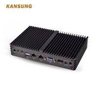 Kansung Mini PC with Celeron J1900 Quad Core 2 Gigabit NIC LAN Ports 8USB Fanless X86 Low Power Micro Computer Support Win Linux