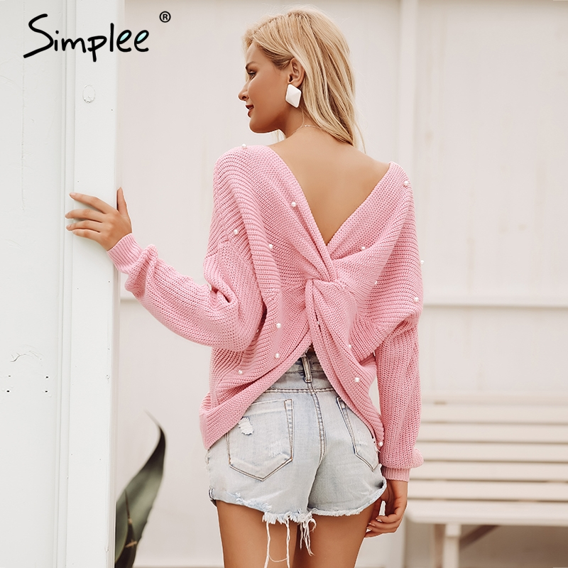Simplee V Neck Pearl Women Knitted Sweater S18ST0454