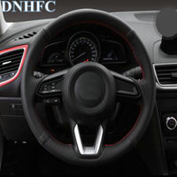 DNHFC Car Accessories Sew On Genuine Leather Car Steering Wheel Cover For Mazda CX 3 CX3