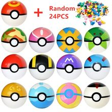 13 Pcs Pokeball+24 Pcs Figures Japanese Movie&TV Action Figures Anime Toys Master ball pet doll pokebolas Kids Birthdays Gifts