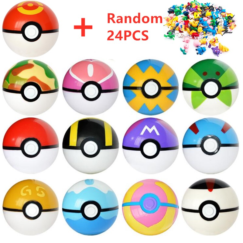 13 Pcs Pokeball+24 Pcs Figures Japanese Movie&TV Action Figures Anime Toys Master ball pet doll pokebolas Kids Birthdays Gifts image