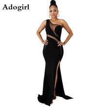 Black One Shoulder Dress Sheer Mesh Patchwork Hollow Out Vintage Maxi Party Side Split Mermaid Vestidos Floor Length