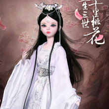 все цены на 60CM Handmade 1/3 Bjd Dolls FUYAO/JINMI/White Snake Large Jointed Chinese Ancient Costume Princess Doll Toys for Girls Gift онлайн