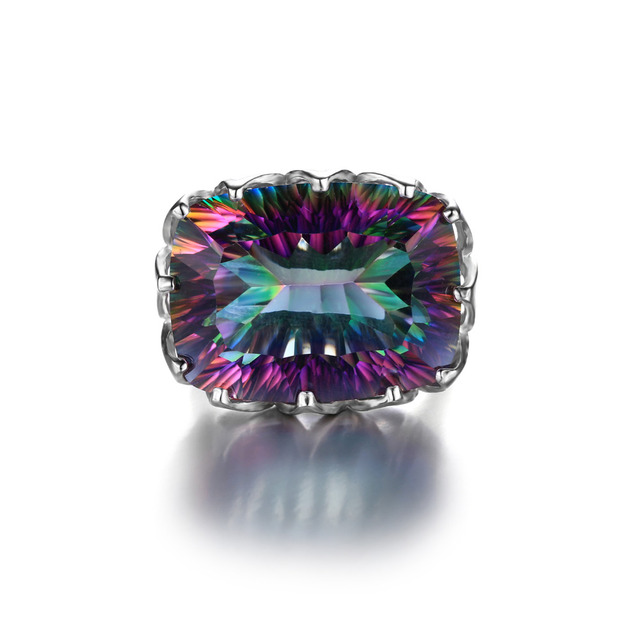 Jewelrypalae Gem Stone 23ct Genuine Rainbow Fire Mystic Topaz Ring Pure Solid 925 Sterling Silver UNIQUE Fashion Size 6 7 8 9