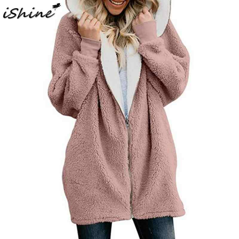 079739879b Autumn Winter Faux Fur Women Jacket Solid Oversized Open Front Coat Fleece  Cardigan Outerwear Women Long
