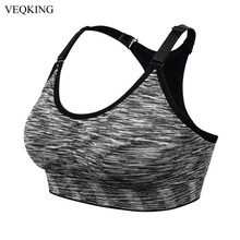 VEQKING Sports Shirt for Fitness,Segment Dyeing Quick Dry Fitness Yoga Sports Bra,Women Running Gym T-shirts Sports Top S M L