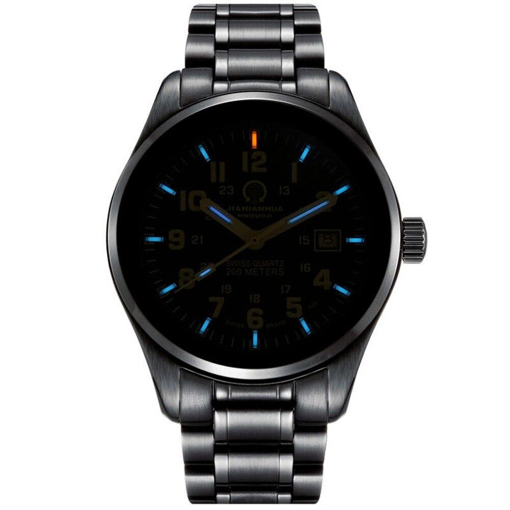 все цены на Carnival Mens Fashion Tritium Luminous Waterproof Steel Watchband Quartz Watch Wristewatch - black case blue luminous в интернете