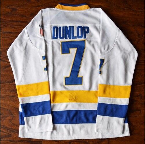 Регги Dunlop Джерси #7 воротам чарльстаун Хоккей Джерси сшитые белый