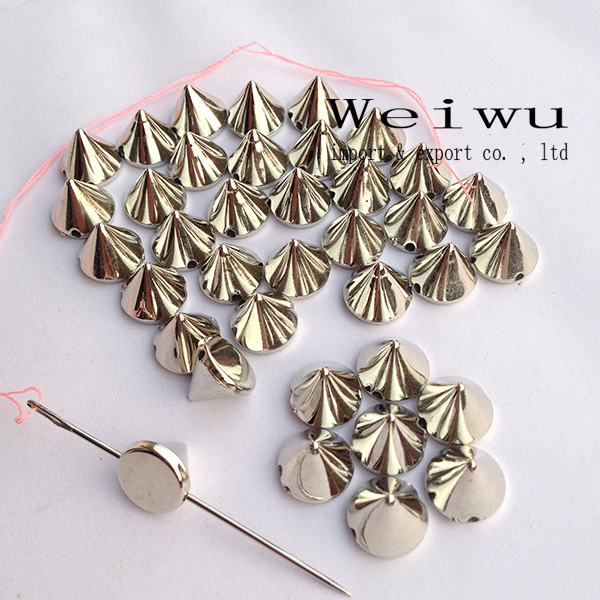 6mm 2000pcs CCB Spike Studs Sew On Or Glue On Silver Color ABS Spike Beads
