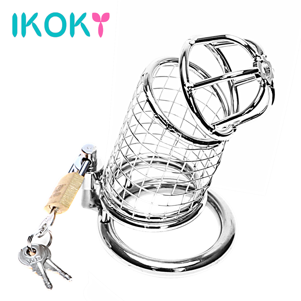 IKOKY Penis Cock Ring Sleeve Lock Adult Games Lockable Stainless Steel Sex Toys for Men Male Chastity Device Cock Cage
