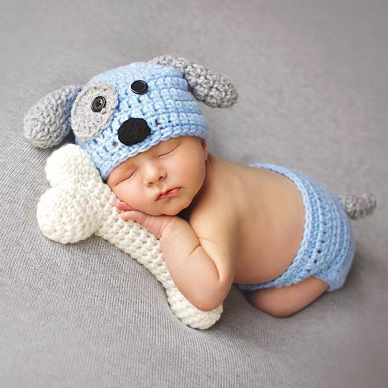 2pcs Newborn Baby Clothing Set Cute Crochet Knit Briefs + Dog Shape Hat Photo Props Outfits Newborn Photography Prop Accessories