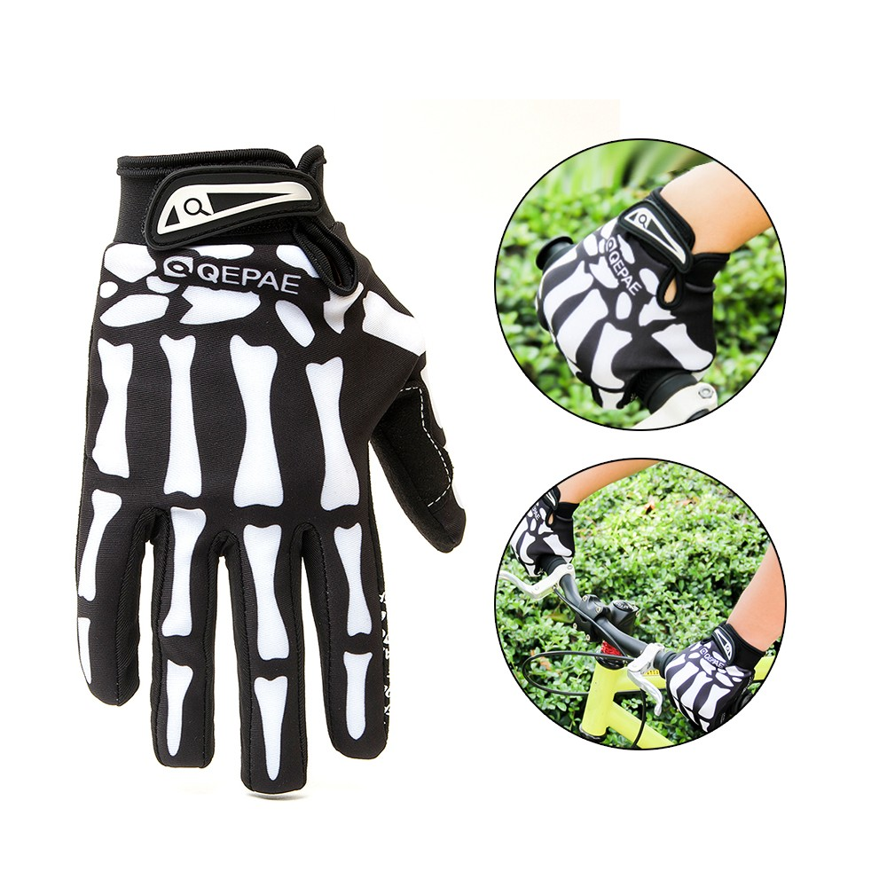 Full Finger 3D Skeleton Pattern Bicycle Cycling Motorcycle Riding Gloves